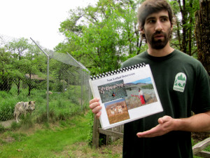 <em>Volunteer Kevin discusses nonlethal deterrents to keep predators from livestock.