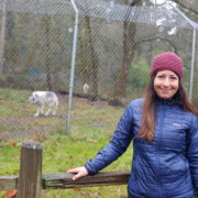 Pam in front of Shadow's enclosure